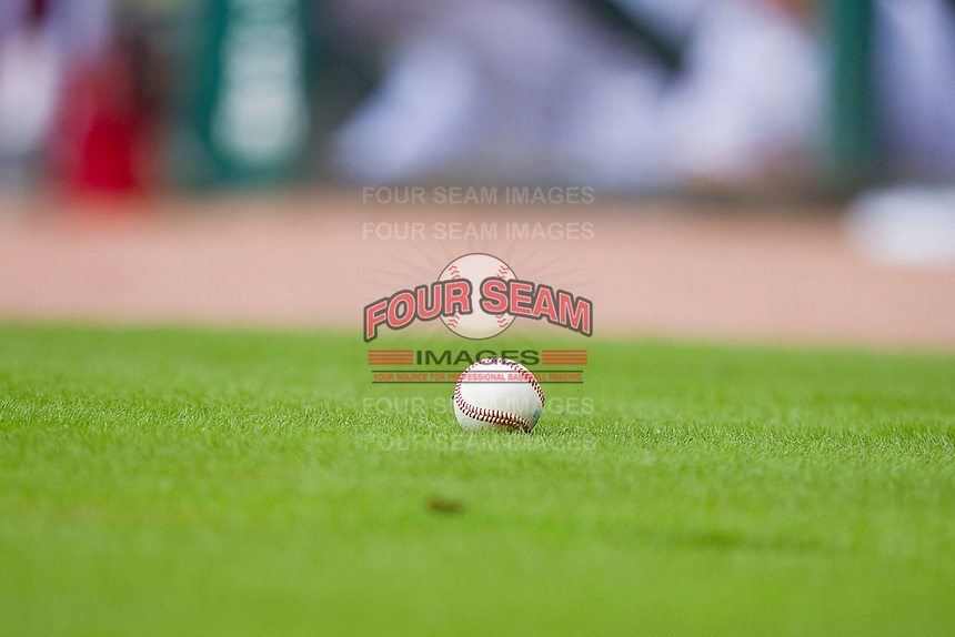 An NCAA baseball sits in the grass behind home plate during the game between the Utah Utes and the Texas A&M Aggies at Minute Maid Park on March 4, 2011 in Houston, Texas.  Photo by Brian Westerholt / Four Seam Images