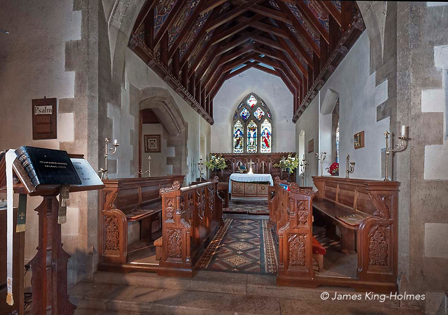 Detail of the chancel of St Lawrence Church, Tubney, Oxfordshire, UK. This is the only Protestant church designed by Augustus Pugin. The interior fittings were designed by him and remain unchanged since its consecration in 1847.