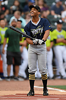 Trae Arbet (16) of the West Virginia Power participates in the Home Run Derby as part of of the South Atlantic League All-Star Game festivities on Monday, June 19, 2017, at Spirit Communications Park in Columbia, South Carolina. (Tom Priddy/Four Seam Images)