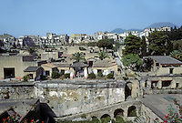 Italy: Herculaneum--View of town from Harbor (foreground). In 79 A.D., a population of about 5000. Photo '83.