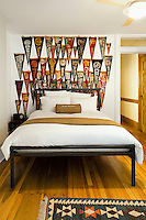 Bedroom with flags