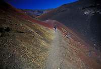 Hiking at sliding sands trail at Haleakala crater National park and crater, upcountry Maui