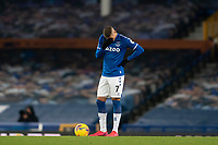 14th February 2021, Doddison Park, Liverpool, England;  Evertons Richarlison reacts after the second Fulham goal during the Premier League match between Everton and Fulham at Goodison Park in Liverpool
