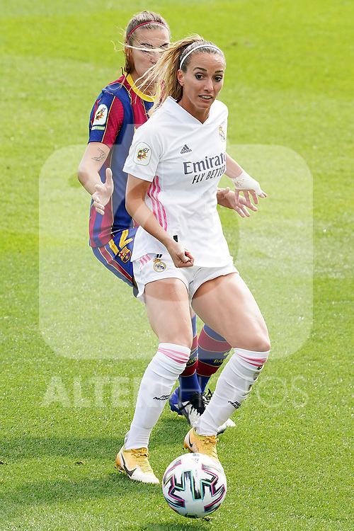 First official match and first classic in the history of women's Real Madrid.<br /> Real Madrid's Kosovare Asllani (r) and FC Barcelona's Patri Guijarro during Spanish Female League match. October 4,2020. (ALTERPHOTOS/Acero)