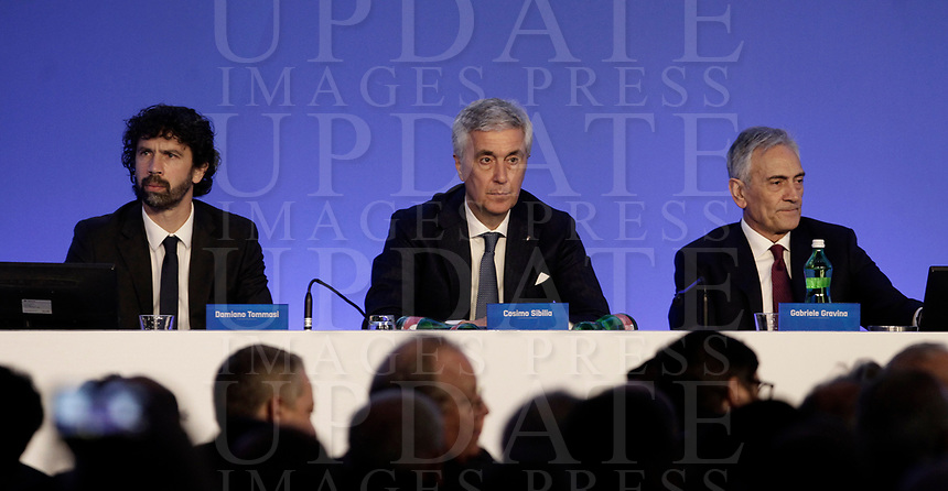 Damiano Tommasi (s), Cosimo Sibilia (c), Gabriele Gravina (d), i tre candidati, partecipano ai lavori dell'Assemblea per l'elezione del nuovo Presidente della Federazione Italiana Giuoco Calcio (FIGC) Roma, 29 gennaio 2018.<br /> Damiano Tommasi (l) Cosimo Sibilia (c), Gabriele Gravina (r), the three candidates, attend the election for the Italian Football Federation (FIGC) presidency in Rome, Italy, January 29, 2018. <br /> UPDATE IMAGES PRESS/Isabella Bonotto