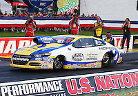 Aug 29, 2014; Clermont, IN, USA; NHRA pro stock driver Allen Johnson during qualifying for the US Nationals at Lucas Oil Raceway. Mandatory Credit: Mark J. Rebilas-USA TODAY Sports