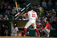 Rochester Red Wings pinch hitter Donovan Casey (21) bats during a game against the Worcester Red Sox on September 3, 2021 at Frontier Field in Rochester, New York.  (Mike Janes/Four Seam Images)