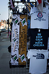 Tottenham Hotspur 4 Watford 0, 08/04/2017. White Hart Lane, Premier League. Commemorative scarves and souvenirs on sale at a stall outside the ground on Tottenham High Road before Tottenham Hotspur took on Watford in an English Premier League match at White Hart Lane. Spurs were due to make an announcement in April 2016 regarding when they would move out of their historic home and relocate to Wembley as their new stadium was completed. Spurs won this match 4-0 watched by a crowd of 31,706, a reduced attendance figure due to the ongoing ground redevelopment. Photo by Colin McPherson.