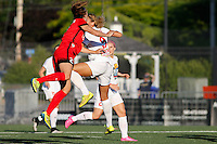 Rochester, NY - Friday June 17, 2016: Portland Thorns FC defender Katherine Reynolds (2), Western New York Flash forward Lynn Williams (9) during a regular season National Women's Soccer League (NWSL) match between the Western New York Flash and the Portland Thorns FC at Rochester Rhinos Stadium.