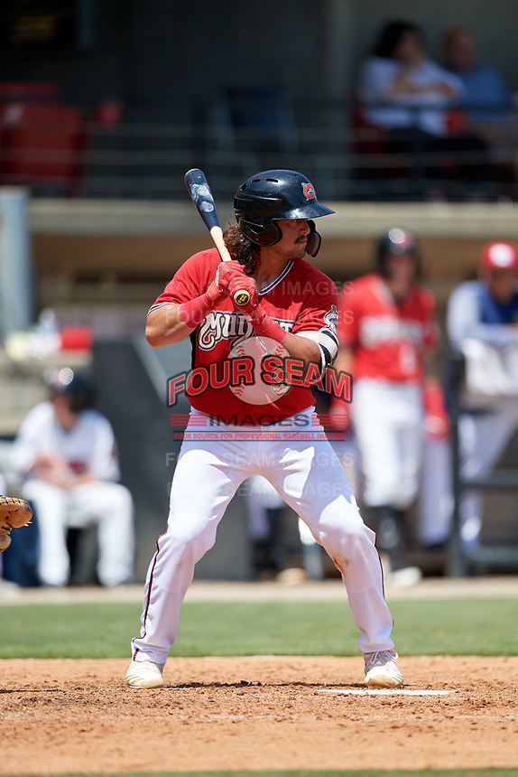 Carolina Mudcats Nathan Rodriguez (9) at bat during a Carolina League game against the Winston-Salem Dash on August 14, 2019 at Five County Stadium in Zebulon, North Carolina.  Winston-Salem defeated Carolina 4-2.  (Mike Janes/Four Seam Images)