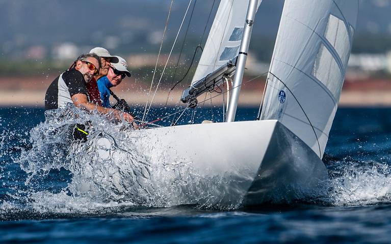 (Right to left) Martin Byrne, Adam Winkelmann and John Simms sailing Jaguar at the Dragon Nationals, Portugal