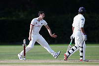 Connor Limrick in bowling action for Brentwood during Brentwood CC vs Wanstead and Snaresbrook CC, Essex Cricket League Cricket at The Old County Ground on 12th September 2020
