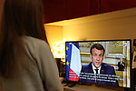 March 12, 2020, a TV screen broadcasting the declaration of France's President Emmanuel Macron, made from The Elysee Palace in Paris, about the situation of the COVID-19 outbreak  in France, caused by the novel coronavirus. Emmanuel Macron announced schools in France would close from next Monday and urged people over 70 to stay at home, to curb the spread of the coronavirus. French president also announced that local elections to be held on March 15, will not be postponed.