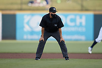 First base umpire Dave Martinez during the Triple-A East game between the Jacksonville Jumbo Shrimp and the Gwinnett Stripers at CoolRay Field on October 2, 2021 in Lawrenceville, Georgia. (Brian Westerholt/Four Seam Images)