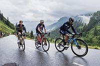 Miguel Angel Lopez (COL/Movistar), Vicenzo Nibali (ITA/Trek-Segafredo) and Sepp Kuss (USA/Jumbo-Visma) up the Col de la Colombière<br /> <br /> Stage 8 from Oyonnax to Le Grand-Bornand (150.8km)<br /> 108th Tour de France 2021 (2.UWT)<br /> <br /> ©kramon