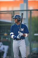 AZL Brewers first baseman Ernesto Wilson Martinez (56) at bat against the AZL Athletics on August 18, 2017 at Lew Wolff Training Complex in Mesa, Arizona. AZL Brewers defeated the AZL Athletics 6-4. (Zachary Lucy/Four Seam Images)