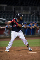 AZL Indians 2 left fielder Cristopher Cespedes (30) at bat during an Arizona League game against the AZL Dodgers at Goodyear Ballpark on July 12, 2018 in Goodyear, Arizona. The AZL Indians 2 defeated the AZL Dodgers 2-1. (Zachary Lucy/Four Seam Images)