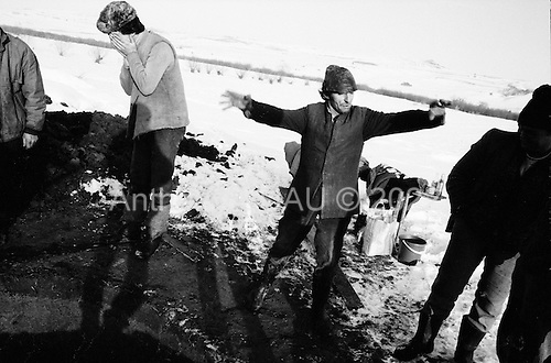 Calata, Transylvania<br /> Romania<br /> January 4,1992<br /> <br /> Digging a water well.
