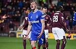 29.02.2020 Hearts v Rangers: George Edmundson misses with a header on goal