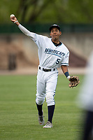 West Michigan Whitecaps third baseman Jose King (5) warms up before the game against the Bowling Green Hot Rods on May 21, 2019 at Fifth Third Ballpark in Grand Rapids, Michigan. The Whitecaps defeated the Hot Rods 4-3.  (Andrew Woolley/Four Seam Images)