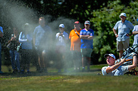 Nick Voke plays out of a bunker to the 18th during his semifinal against Jang Hyun Lee. Final day of the Jennian Homes Charles Tour / Brian Green Property Group New Zealand Super 6s at Manawatu Golf Club in Palmerston North, New Zealand on Sunday, 8 March 2020. Photo: Dave Lintott / lintottphoto.co.nz