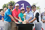 (L-R) Cao Weiyu, Gary McAllister, Cindy Lee, Rich Beem, Tenniel Chu at the 1st hole during the World Celebrity Pro-Am 2016 Mission Hills China Golf Tournament on 23 October 2016, in Haikou, China. Photo by Weixiang Lim / Power Sport Images