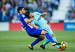 Luis Alberto Suarez Diaz (r) of FC Barcelona vies for the ball with Ezequiel Matias Munoz of CD Leganes during the La Liga 2017-18 match between CD Leganes vs FC Barcelona at Estadio Municipal Butarque on November 18 2017 in Leganes, Spain. Photo by Diego Gonzalez / Power Sport Images