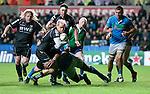 Heineken Cup - Ospreys v Treviso - Liberty Stadium - Swansea - UK - 12th October 2012 :                .Ospreys Hanno Dirksen is brought down by the Treviso defence.