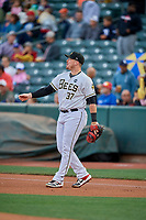 Justin Bour (37) of the Salt Lake Bees during the game against the Oklahoma City Dodgers at Smith's Ballpark on July 31, 2019 in Salt Lake City, Utah. The Dodgers defeated the Bees 5-3. (Stephen Smith/Four Seam Images)
