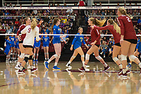 STANFORD, CA - NOVEMBER 17: Stanford, CA - November 17, 2019: Holly Campbell, Jenna Gray, Morgan Hentz, Holly Campbell, Kathryn Plummer at Maples Pavilion. #4 Stanford Cardinal defeated UCLA in straight sets in a match honoring neurodiversity. during a game between UCLA and Stanford Volleyball W at Maples Pavilion on November 17, 2019 in Stanford, California.