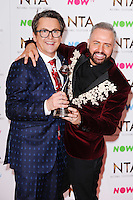 Stephen Webb and Chris Steed (Gogglebox)<br /> in the winners room at the National TV Awards 2017 held at the O2 Arena, Greenwich, London.<br /> <br /> <br /> ©Ash Knotek  D3221  25/01/2017