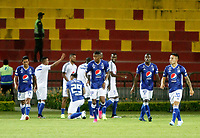 BUCARAMANGA - COLOMBIA, 27-07-2019: Cristian Arango (#29) de Millonarios celebra después de anotar el segundo gol de su equipo durante partido por la fecha 3 de la Liga Águila II 2019 entre Atlético Bucaramanga y Millonarios jugado en el estadio Alfonso Lopez de la ciudad de Bucaramanga. / Cristian Arango (#29) of Millonarios celebrates after scoring the second goal of his team during match for the date 3 of the Liga Aguila II 2019 between Atletico Bucaramanga and Millonarios played at the Alfonso Lopez stadium of Bucaramanga city. Photo: VizzorImage / Oscar Martinez / Cont