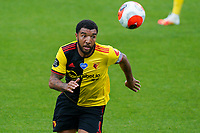 Troy Deeney of Watford during the Premier League match between Watford and Manchester City at Vicarage Road, Watford, England on 21 July 2020. Football Stadiums around remain empty due to the Covid-19 Pandemic as Government social distancing laws prohibit supporters inside venues resulting in all fixtures being played behind closed doors until further notice.<br /> Photo by Andy Rowland.