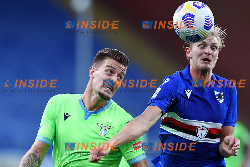 Sergej Milinkovic-Savic of SS Lazio and Morten Thorsby of UC Sampdoria compete for the ball during the Serie A football match between UC Sampdoria and SS Lazio at stadio Marassi in Genova (Italy), October 17th, 2020. <br /> Photo Image Sport / Insidefoto