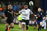 17th July 2021; Hamilton, New Zealand;  Sevu Reece (L) and Setareki Tuicuvu chase the loose ball. All Blacks versus Fiji, Steinlager Series, international rugby union test match. FMG Stadium Waikato, Hamilton, New Zealand.