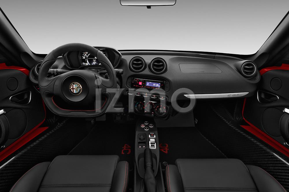 Stock photo of straight dashboard view of 2018 Alfaromeo 4C - 2 Door Convertible Dashboard