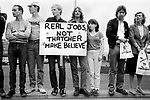 General Election 1983 Uk Thatcher unemployment demonstration about job prospects for school leavers 1980s `Thatchers bus has arrived she is touring the country.