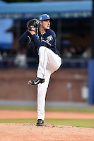 Asheville Tourists starting pitcher Ryan Castellani (6) delivers a pitch during a game against the Charleston RiverDogs on April 30, 2015 in Asheville, North Carolina. The RiverDogs defeated the Tourists 5-4. (Tony Farlow/Four Seam Images)