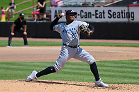 West Michigan Whitecaps relief pitcher Sandel De La Cruz (26) delivers a pitch during a game against the Wisconsin Timber Rattlers on May 22, 2021 at Neuroscience Group Field at Fox Cities Stadium in Grand Chute, Wisconsin.  (Brad Krause/Four Seam Images)