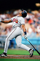 Andruw Jones of the Atlanta Braves during a game against the Los Angeles Dodgers at Dodger Stadium circa 1999 in Los Angeles, California. (Larry Goren/Four Seam Images)
