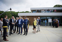 Sven Nys shows Minister of Sports Philippe Muyters (N-VA) and the media around at the opening of the Sven Nys Cycling Center in Nys' hometown of Baal (Belgium)