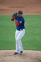 Salem Red Sox relief pitcher Yankory Pimentel (38) delivers a pitch during the first game of a doubleheader against the Potomac Nationals on May 13, 2017 at G. Richard Pfitzner Stadium in Woodbridge, Virginia.  Potomac defeated Salem 6-0.  (Mike Janes/Four Seam Images)