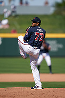 Atlanta Braves pitcher Huascar Ynoa (73) during a Major League Spring Training game against the Boston Red Sox on March 7, 2021 at CoolToday Park in North Port, Florida.  (Mike Janes/Four Seam Images)