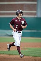 Jacob Robson (7) of the Mississippi State Bulldogs runs the bases during a game against the Southern California Trojans at Dedeaux Field on March 5, 2016 in Los Angeles, California. Mississippi State defeated Southern California , 8-7. (Larry Goren/Four Seam Images)