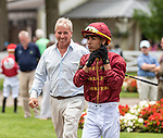 July 17, 2021: Jose L. Ortiz in the paddock with Wesley A Ward before the start of the first race on Diana Day at Saratoga Race Course in Saratoga Springs, New York on July 17, 2021. Rob Simmons/Eclipse Sportswire/CSM