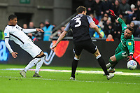 Rhian Brewster of Swansea City has a shot during the Sky Bet Championship match between Swansea City and Derby County at the Liberty Stadium in Swansea, Wales, UK. Saturday 08 February 2020