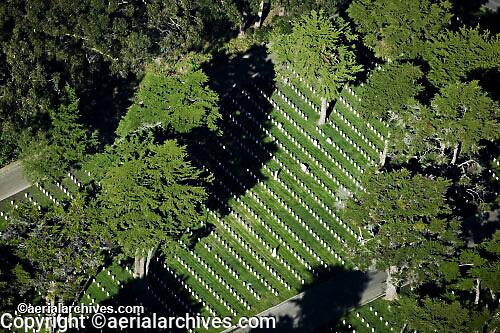 aerial photograph National Cemetery San Francisco California Presidio GGNRA