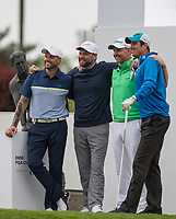 (L-r) Keith Duffy (Singer / Actor), Brian McFadden (Singer / Songwriter) golfer Stephen Gallagher & Vernon Kay (TV Presenter) during the BMW PGA PRO-AM GOLF at Wentworth Drive, Virginia Water, England on 23 May 2018. Photo by Andy Rowland.