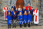past pupils from Loughquittane NS with Fr Jim Lenihan, Fr Niall Howard and Fr Kieran O'Brien after the made their Confirmation in St Marys Cathedral on Friday