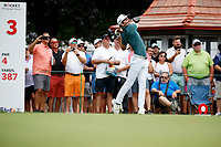 3rd July 2021, Detroit, MI, USA;   Joaquin Niemann hits his tee shot on the third hole on July 3, 2021 during the Rocket Mortgage Classic at the Detroit Golf Club in Detroit, Michigan.